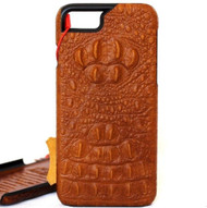 Genuine Tanned Leather Case for Apple iPhone SE 2 Cover Crocodile Style Hard Davis