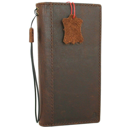 Genuine vintage leather case for oneplus 8 pro book wallet cover cards slots slim handmade Suede brown Jafo style daviscase