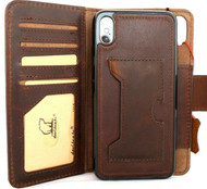 Genuine Tanned Real leather Case for iPhone XS vintage cover credit cards Removable detachable slots luxury Dark soft Daviscase 10 Jafo Wireless Charging Chocolate brown IL