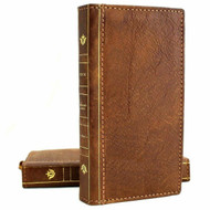 Genuine Vintage Leather Case for Samsung Galaxy S20 Bible Wallet ID Book Soft Luxury DAVIS Tan Luxury