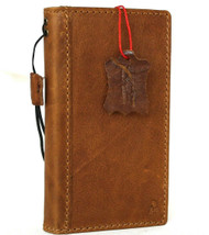Genuine Tan Leather Case For Apple iPhone 12 Mini Book Wallet Vintage Style ID Window Cover Full Grain