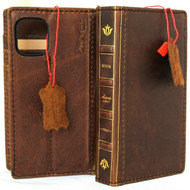 Genuine Real Soft Leather Case For Apple iPhone 12 Mini Wallet Bible Book Design Credit Cards Cover Davis