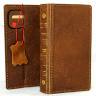 Genuine Real Soft Leather Case For Apple iPhone 12 Mini Wallet Bible Book Style Tan Cover Vintage Slim Davis