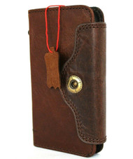 Genuine Natural Leather Case For Apple iPhone 12 Mini Wallet Luxury Credit Cards Cover Dark Brown Soft Davis