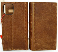 Genuine Tan Leather Case For Apple iPhone 12 Pro Wallet Vintage Bible Style Cover Book DavisCase