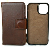 Genuine Real Soft Leather Case For Apple iPhone 12 Pro Wallet Cover Removable Magnetic Book Dark Brown Davis