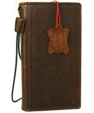 Genuine Natural Dark Leather Case For Apple iPhone 12 Wallet Vintage Style Credit Cards Cover Book Slim DavisCase