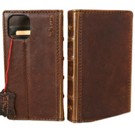 Genuine Soft Leather Case For Apple iPhone 12 Wallet Vintage Bible Design Slim Cover Book Davis