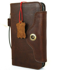 Genuine Classic Leather Case For Apple iPhone 12 Wallet Luxury Cover Book Luxury Credit Cards Dark Brown Closure  Davis