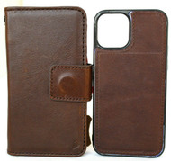 Genuine Real Soft Leather Case For Apple iPhone 12 Wallet Cover Detachable  Magnetic Book Dark Brown Davis