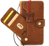 Genuine Real Leather Case For Apple iPhone 12 Pro Max Wallet Luxury Soft Cover Book Tan Full Grain Davis