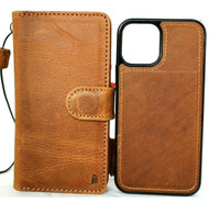 Genuine Tan Leather Case Apple iPhone 12 Pro Max Wallet Cover Credit Cards Removable Magnetic  Davis