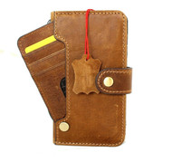 Genuine Full Leather Case For Apple iPhone 12 Mini Wallet Luxury Credit Cards ID Window Cover Tan Davis