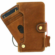 Genuine Tan Soft Leather Case For Apple iPhone 12 Wallet Vintage Cover Book Luxury  Credit Cards ID Window Wireless DavisCase