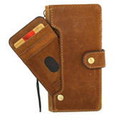 Genuine Tan Leather Case for Samsung Galaxy Note 9 book Handmade Wallet Closure Vintage Style Cover Cards Slots Wireless Charging Davis