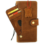 Genuine Vintage Leather case for Samsung Galaxy Note 10 Plus book wallet soft holder Card slots Rubber stand ID Window Wireless charging Tan Davis
