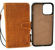Genuine Full Leather Case For Apple iPhone 12 Book Wallet Vintage Style Credit Cards Slots Soft Removable Magnetic Cover Tan Full Grain DavisCase