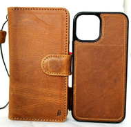 Genuine Tan Leather Case For Apple iPhone 12 PRO Book Wallet Vintage ID Window Credit Cards Slots Soft Cover Magnetic Detachable Top Grain Davis