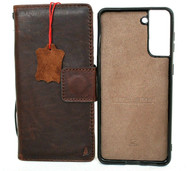 Genuine Full Leather Case for Samsung Galaxy S21 Plus 5G Credit Cards Wallet Book Luxury Removable Magnetic Cover Classic Soft Dark Brown Davis