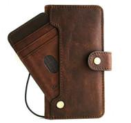 Genuine Dark Leather Case for Samsung Galaxy S21 Credit Cards Wallet ID Window Book Luxury Wireless cover Classic Soft Top Grain Davis