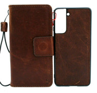 Genuine Dark Leather Case for Samsung Galaxy S21 Credit Cards Wallet Book Luxury Removable Magnetic Cover Classic Soft DavisCase