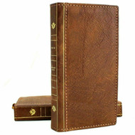 Genuine Tanned Leather Case for Samsung Galaxy S21 Credit Cards Wallet Bible Design Luxury Wireless Charging Cover Classic Slim Soft DavisCase