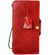 Genuine Red Leather Case For Apple iPhone 12 Pro Max Cards Wallet Luxury Cover Closure Slim Design Wireless Charging Davis