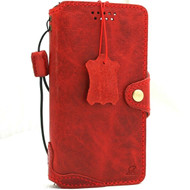 Genuine Soft Leather Case For Apple iPhone 12 Wallet Vintage Style Cover Book Red Slim Design top Grain DavisCase
