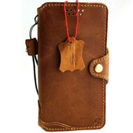 Genuine Soft Leather Case For Apple iPhone 12 Wallet Vintage Cover Book Tan Slim Design Top Grain Davis