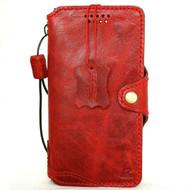 Genuine Real Oiled Leather Case for iPhone 11 Vintage Cover Credit Cards Slots Holder Rubber Handmade Red Slim Design Davis