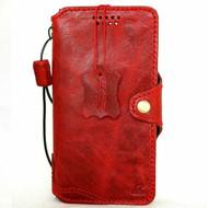 Genuine Slim Leather Case for Samsung Galaxy Note 10 Handmade Cover Wallet Book Flip Red Rubber DavisCase