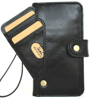 Genuine Full Black Leather Case For Apple iPhone 12 Mini Wallet Luxury Credit Cards ID Window Cover DavisCase