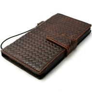 Genuine Full Leather Wallet Case for iPhone 11 Pro Max Cover Credit Cards Slots ID Window Stand Rubber Brown DavisCase