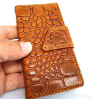Genuine real leather brown color iPhone 5 5s case cover with wallet creditcard holder crocodile model
