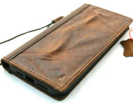 Genuine Dark Vintage Leather Wallet Case For Apple iPhone 12 Book Credit Cards Slots Soft Cover ID Window Full Grain DavisCase