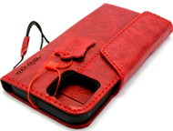 Genuine Red Leather Wallet Case For Apple iPhone 12 Pro Max Book Credit Cards Slots Soft Cover Top Grain DavisCase