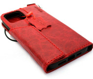 Genuine Red Leather Wallet Case For Apple iPhone 11 Pro Max Cover Credit Card Holder Wireless Charging Luxury Rubber Strap Daviscase