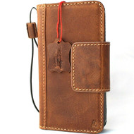 Genuine Tan Leather Wallet Case For Apple iPhone 12 PRO Book Vintage Style ID Window Credit Cards Slots Soft Slim Cover Top Grain DavisCase