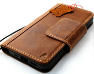 Genuine Tanned Leather Wallet Case For Apple iPhone 12 Book ID Window Vintage Credit Cards Slots Soft Cover Full Grain Slim DavisCase