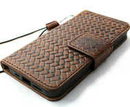 Genuine Soft Dark Leather Case For Apple iPhone 12 PRO Book Wallet Vintage Design ID Window Credit Cards Slots Soft Cover Magnetic Closure Full Grain DavisCase