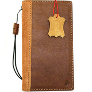 Genuine Tan Leather Case For Apple iPhone 12 Pro Max Book Wallet Vintage Style ID Window Credit Cards Slots Soft Cover Full Grain Davis