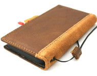 Genuine Tan Soft Leather Case For Apple iPhone 12 Mini Book Wallet Vintage Suede Design ID Window Credit Cards Slim Cover Davis