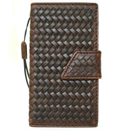 Genuine Dark Leather iPhone 8 Magnetic case cover wallet credit cards holder book luxury rubber Davis