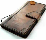 Genuine Dark Oiled Leather Wallet Case For Apple iPhone 12 PRO Book Vintage Look ID Window Credit Cards Slots Soft Cover Magnetic closure Full Grain Davis 1948