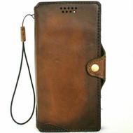 Genuine Slim Leather Case For Apple iPhone 12 Book Wallet Vintage Look Credit Cards Slots Cover Top Grain Slim Style DavisCase 1948