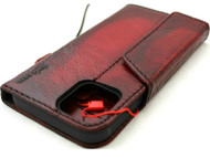 Genuine Leather Wallet Case For Apple iPhone 11 Pro Max Cover Credit Card Holder Wireless Charging Luxury Rubber Strap Wine red Daviscase 1948
