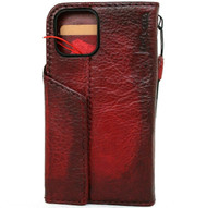 Genuine Hard Leather Wallet Case For Apple iPhone 12 Pro Max Book Credit Cards Slots Soft Cover Top Grain Wine red DavisCase