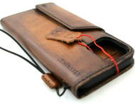 Genuine Vintage Leather Wallet Case For Apple iPhone 12 Pro Max Book Credit Card Slots Soft Magnetic Cover Top Grain DavisCase 1948
