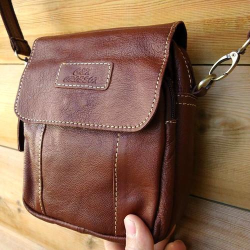 Genuine real Leather Shoulder Bag Sling Rugged Vintage BROWN Cowhide small man s