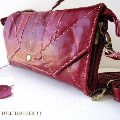 Genuine 100% leather woman purse tote Ladies wallet Clutch RED pink bag Coins id